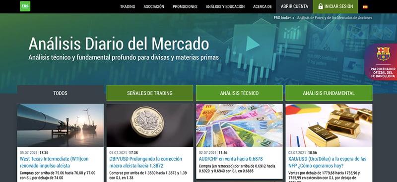 captura de pantalla del broker fbs en castellano